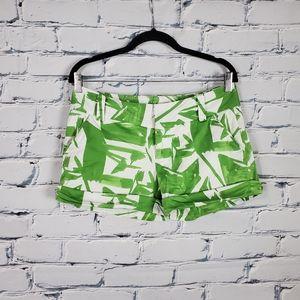 Alice & Olivia Green Print Cuffed Shorts